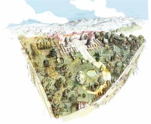 01 Crayon et aquarelle. Plan du jardin d'hospitalité